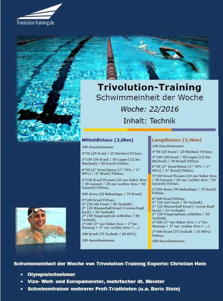 Schwimmtrainingsplan Woche 22 - Trivolution-Training