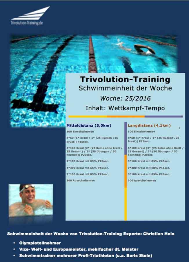 Schwimmtrainingsplan Woche 25 - Trivolution-Training