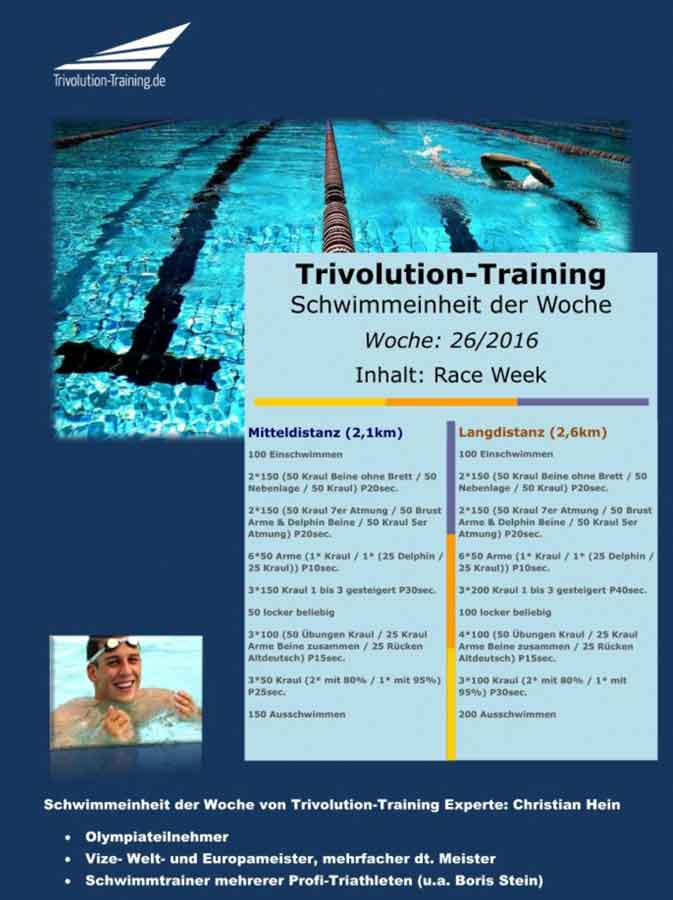 Schwimmtrainingsplan Woche 26 - Trivolution-Training